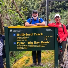 Group at Hollyford track, Fiordland New Zealand