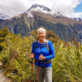 Lady at Key Summit Lookout Trail Lake, Fiordland New Zealand