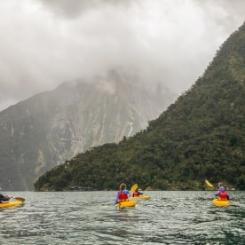 Kayak tour at Milford Sound, Fiordland New Zealand