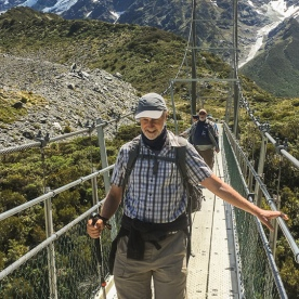 Crossing bridge at Hooker Valley Track, Canterbury New Zealand