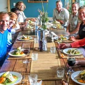 Dinner at Martins Bay lodge, Fiordland New Zealand
