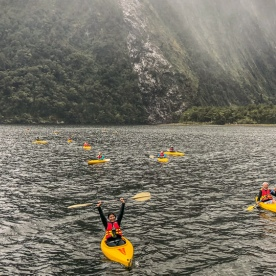 Kayaking at Milford Sound, Fiordland New Zealand