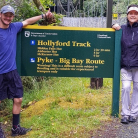 Group at Hollyford Track river, Fiordland New Zealand