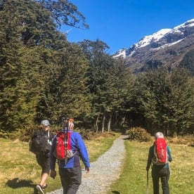 Walking the Routeburn Track valley, Otago New Zealand