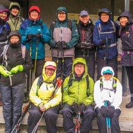 Group ready to hike the Routeburn Track, Otago New Zealand