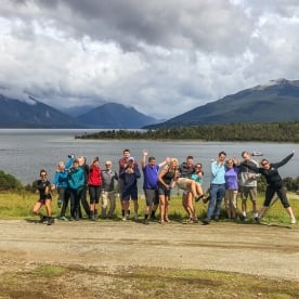 Group at Lake Te Anau, Fiordland New Zealand