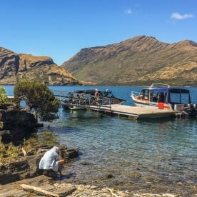Boarding on the boat at Mou Waho Island, Wanaka Otago New Zealand