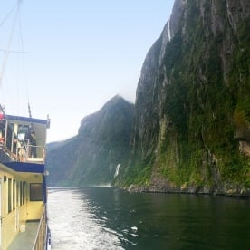 Aboard our boat at Milford Sound