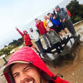 High jinks in the rain at the Mt Iron lookout near Wanaka