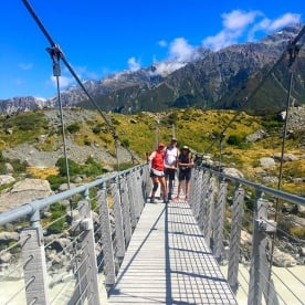 The Hooker Valley track crosses 3 swing bridges on it's way up to the Hooker Glacier