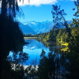 The team were lucky to catch this stunning reflection on Lake Matheson