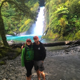 Our 'Kiwi' guides Emily and Bruce at Hidden Falls on the Hollyford Track