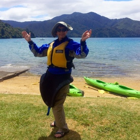 Here's Helen Ready for Sea Kayaking at Queen Charlotte Sound