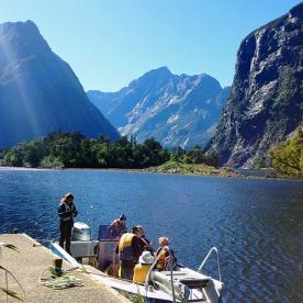 boat cruise at milford sound new zealand