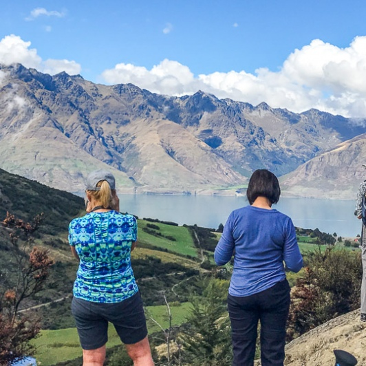 Group above Lake Wakatipu, Otago New Zealand