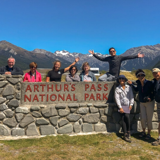 Group at Arthurs Pass National Park, Canterbury New Zealand