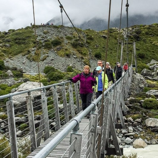 Hooker Valley Track Bridge, Aoraki Mount Cook National Park Canterbury New Zealand