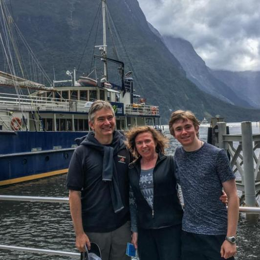 Family at Milford Sound, Fiordland National Park Southland New Zealand