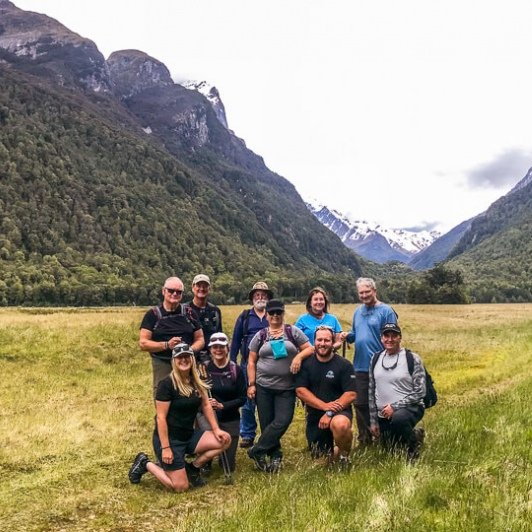 Group at Eglinton Valley, Fiordland New Zealand