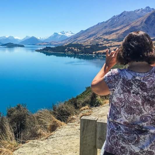 View on Lake Wakatipu from Bennetts Bluff Lookout, Otago New Zealand