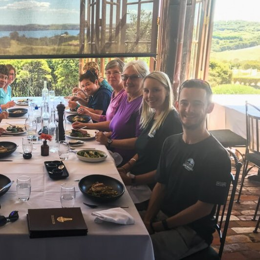 Group having lunch at Waiheke Island, Auckland New Zealand