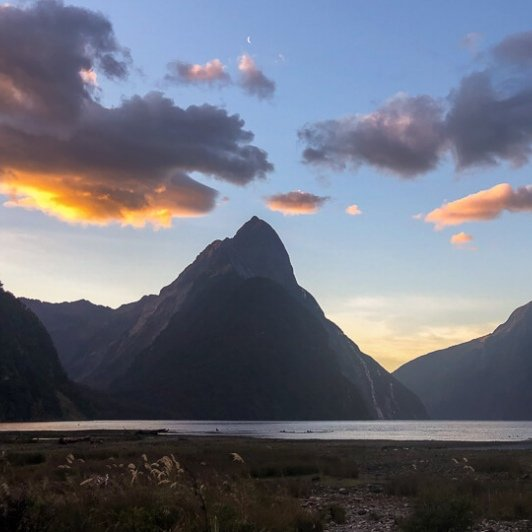 Sunset at Milford Sound, Fiordland New Zealand