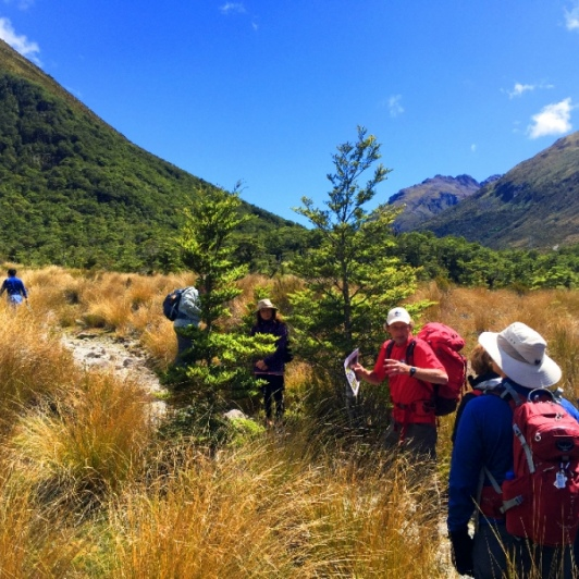 hiking guide and group