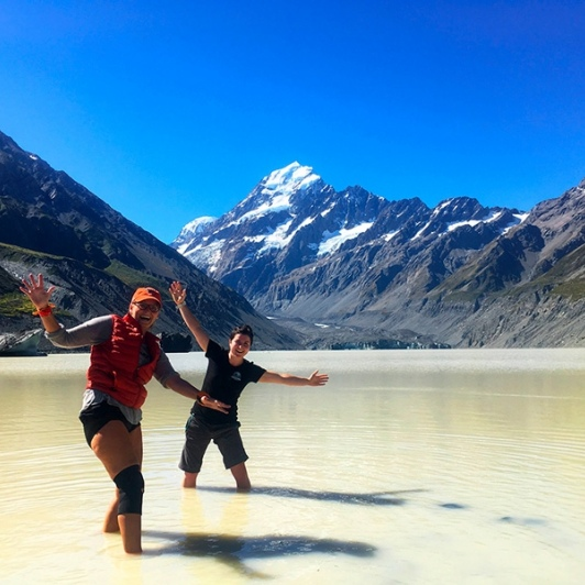 Happy days in Hooker Valley. Yes that's glacial water!