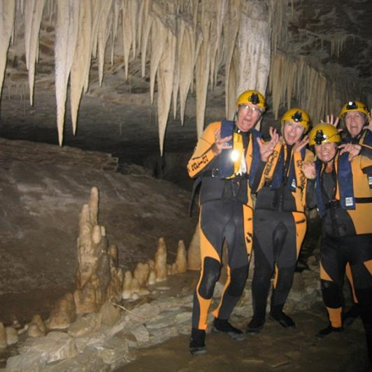 Group by Stalactites in the Nile River Caves