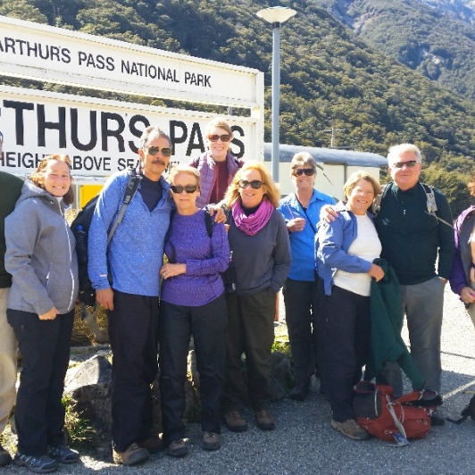 hiking group at arthurs pass station