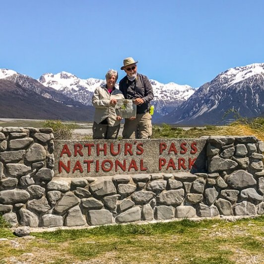 Couple at Arthurs Pass National Park, Canterbury New Zealand