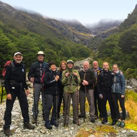 pausing for a group photo in Arthurs Pass National Park