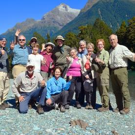 group at hollyford track river new zealand