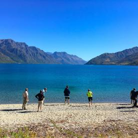 Who can resist a stone skim!? On the shore of Lake Wakatipu