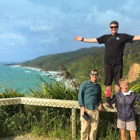 Our Masterpiecers at a lookout on New Zealand's wild west coast