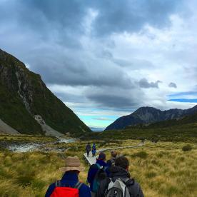 The dramatic landscape of the Hooker Valley Track