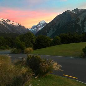 Sunrise colours over Aoraki/Mt Cook