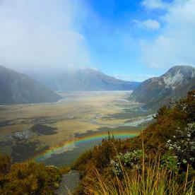 Rainbows in the clouds up at Aoraki/Mt Cook National Park. This is the view down the Tasman valley back towards the...