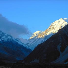 Aoraki/Mt Cook catching the last light of the day.