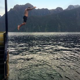 Dave showing us how it's done! Milford Sound