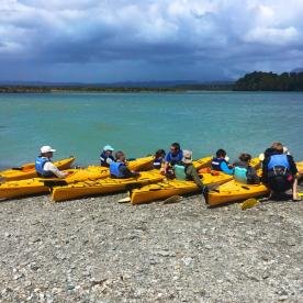 'learning the ropes' before heading out into Okarito Lagoon to visit the white herons.