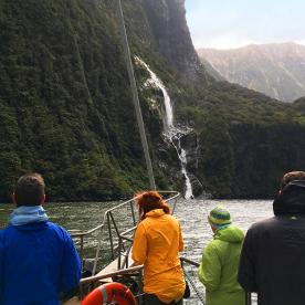 Gazing at waterfalls in the stunning Milford Sound