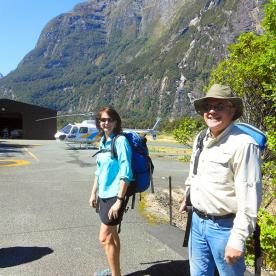Getting ready for our Heli lift out of Milford Sound