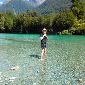 The clear waters of the Hollyford River make for a refreshing paddle