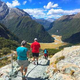 The walk with a view! Descending the track into the Routeburn Valley