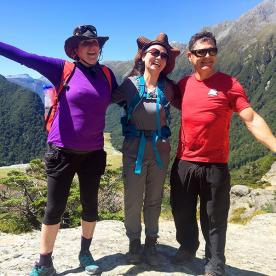 hikers at routeburn track new zealand