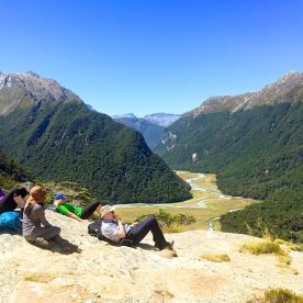 rest at routeburn track valley new zealand
