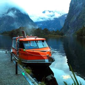 This is our transport to the start of the world-famous Milford Track. Mitre Peak in the background
