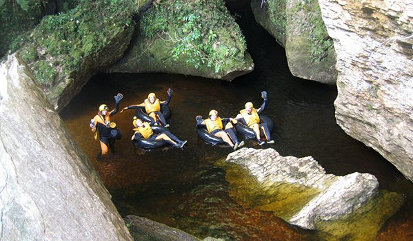 Black river rafting in New Zealand glow worm caves