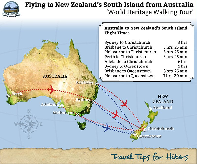 How to get to new zealand tips for hikers new zealand trails flights from australia to new zealand gumiabroncs Gallery